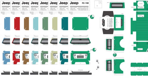 Willys Jeep FC-150 paper model colors