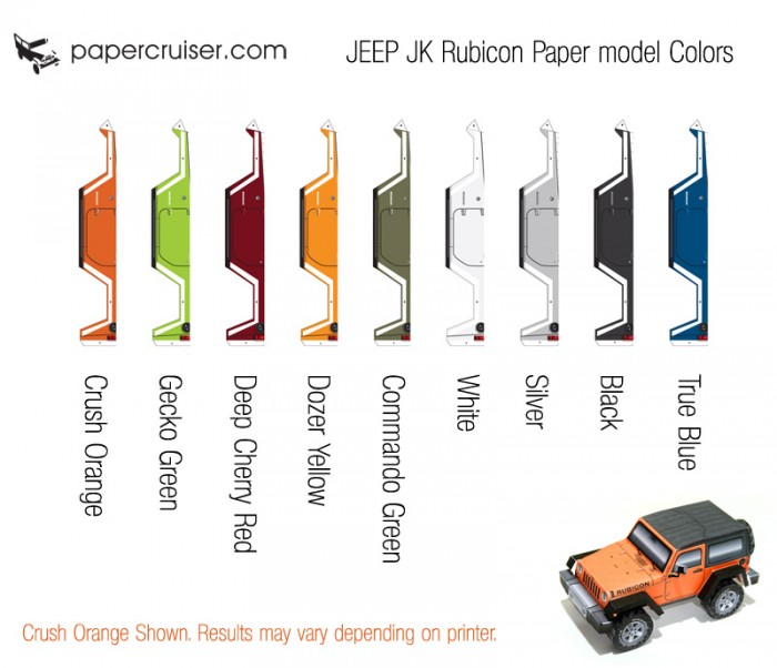 Jeep Wrangler paper model Color-guide