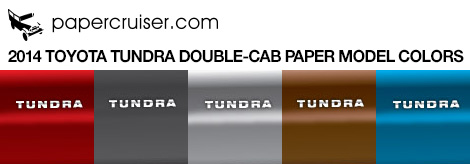 TOyota Tundra paper model colors