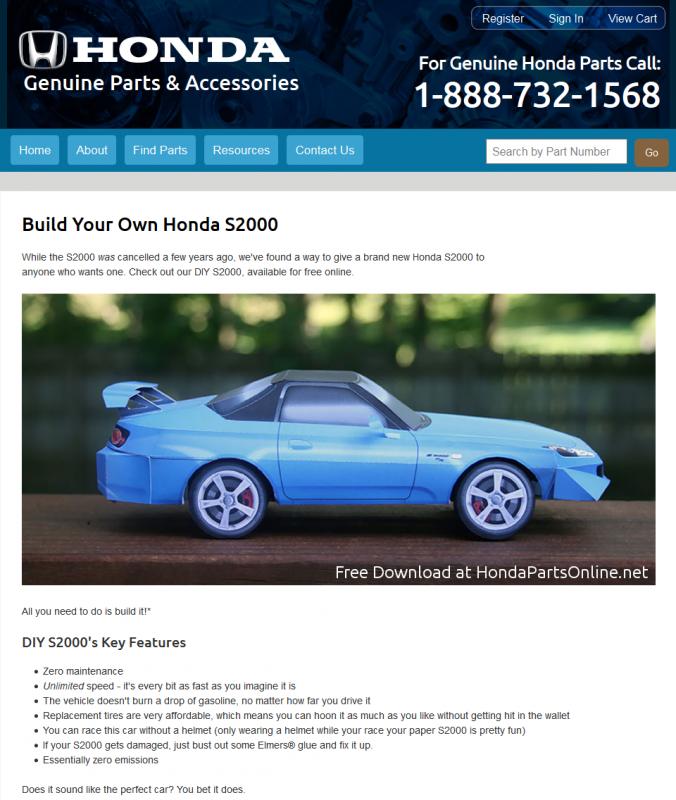 Free Honda Honda S2000 CR paper model