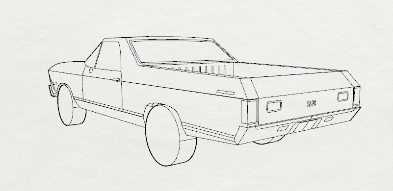 creating the el camino paper model  start to finish