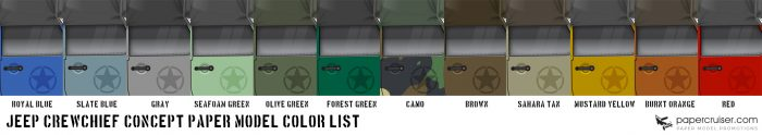 JEep CrewChief Concept truck paper model color list